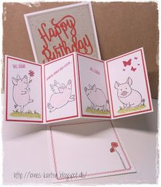 Slider Cards, Flip Cards, Stampin Up Karten, Stampin Up Cards, This Little Piggy, Animal Cards, Birthday Greeting Cards, Stamping Up, Kids Cards