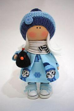 Nursery Art Doll Collection Cloth Doll Fabric Muñecas Rag Bambole Doll Textile Handmade Doll Tilda Poupée Doll Winter Blue Doll by Ksenia __________________________________________________________________________________________ Hello, dear visitors! This is handmade cloth doll