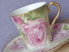 Antique Limoges Demitasse Teacup and Saucer, Large pink roses tea cup, French tea cup, French porcelain tea cup, Shabby chic roses, by ShoponSherman on Etsy