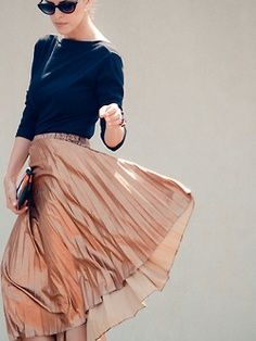 Navy Top & Copper Pleat Skirt.