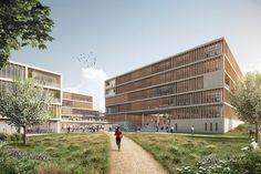 Neubau LIDL Verwaltungsgebäude Bad Wimpfen gmp architekten von Gerkan Marg und Partner (Hamburg) 2016 #office http://rdt.ac/e1303