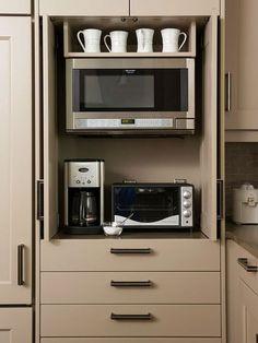 ideas for kitchen appliances storage ideas hidden microwave Kitchen Redo, Kitchen Pantry, Kitchen And Bath, Kitchen Storage, Kitchen Organization, Organized Kitchen, Organization Ideas, Storage Cabinets, Pantry Cabinets