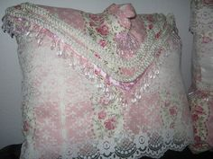 shabby lace pillows | Pink Beige Lace Decorative Pillows Shabby Chic Style Beading Victorian ...