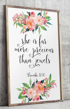 Baby girl nursery diy wall art bible verses 46 Ideas for 2019 Tattoo For Baby Girl, Tattoo Baby, More Precious Than Rubies, Baby Girl Quotes, Little Girl Quotes, Art Graphique, Proverbs 31, Nursery Decor, Girl Nursery Art