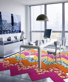 Stained Glass Five-Cut Design Rug Square Set
