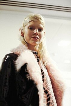 Candy floss fur collars at Christopher Kane AW14 LFW. Photography by Lea Colombo. More images here: http://www.dazeddigital.com/fashion/article/18888/1/christopher-kane-aw14