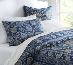 Navy floral duvet cover and sham