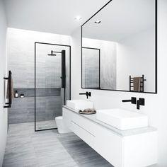 Vigo Meridian 33 - 73 Framed Fixed Glass Shower Screen in Matte Black - Badezimmer Amaturen Bathroom Layout, Modern Bathroom Design, Bathroom Interior Design, Minimal Bathroom, Bathroom Cabinets, Bath Design, Tile Layout, Tile Design, Contemporary Bathrooms
