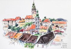 my watercolour journal  (@potassium_hydride) в Instagram: Český Krumlov   #Prague #aquarell #art #painting #watercolor #watercolour #sketch  #paint  #drawing #sketching #sketchbook #travelbook #archisketcher #sketchaday #sketchwalker #sketchcollector  #artjournal #traveldiary #topcreator #usk  #urbansketch #urbansketchers #скетчбук #скетч #скетчинг #pleinair #aquarelle #watercolorsketch #usk #architecture #painting #illustration