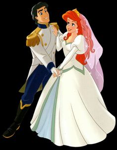 """Walt Disney Clip Art of Prince Eric and Princess Ariel from """"The Little Mermaid"""" 37709764"""