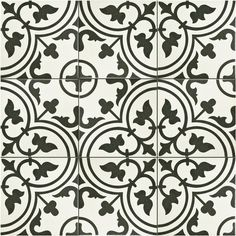 The SomerTile 9.75x9.75-inch Art White Porcelain Floor and Wall Tile features a gorgeous, geometric pattern in a combination of white and warm black hues. Use this low-sheen tile by itself or pair the
