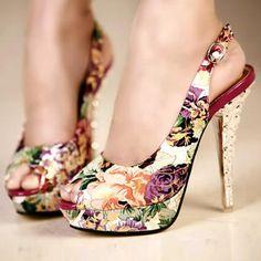 Gorgeous floral patterned peep toe pumps