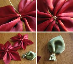 An easy way of making poinsettias from ribbon,felt or anything else you can think of.