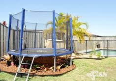 Garden makeover, put trampoline in the garden bed to keep grass for browning and patching.