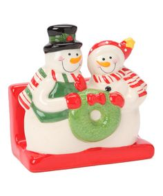 DEI Wreath & Snowman Family Napkin Holder by Merry & Bright by Dennis East