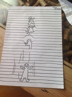 De poppet he's klimmen door de touwen