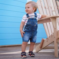 Short denim dungarees for baby boy Denim - Mayoral 6 to 36 Months: Baby Clothes Baby Outfits, Mom And Son Outfits, Toddler Boy Outfits, Matching Family Outfits, Kids Outfits, Cute Baby Boy, Baby Boy Fashion, Kids Fashion, Denim Dungaree Shorts