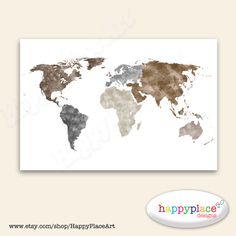 World map gold foil print globe map art print foil map brown grey world map art continents without borders digital download image with custom color personalised map world map with no borders gumiabroncs Images