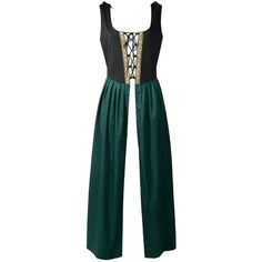 Renaissance Medieval Pirate Peasant Costume Two-Toned Irish Over Dress... ($26) ❤ liked on Polyvore featuring costumes, peasant costume, womens costumes, green halloween costumes, pirate costume and womens halloween costumes