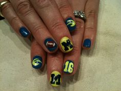 Go Blue!  Amazingly done with 3D football by Ayumi at Valley Nails in NYC