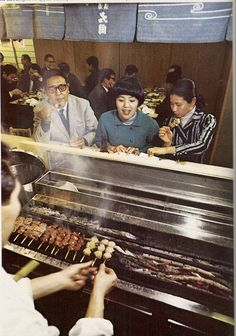Torishige Restaurant, Japan    Yakitori fresh from the grill c late 1960s