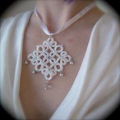 Tatted Lace Pendant The White Queen by TotusMel on Etsy, $30.00