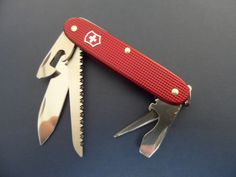 Swiss Bianco Victorinox Farmer Burgundy Alox Swiss Army Knife