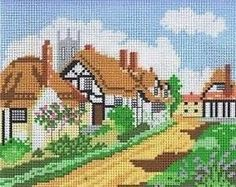 Needlepoint canvas careens cottage | English-Country-Village-Thatched-Cottages-Tapestry-Needlepoint-Canvas