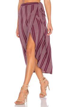 Band of Gypsies Pin Stripe High Low Midi Skirt in Burgundy & Ivory | REVOLVE