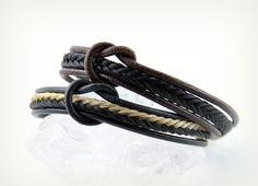 Armband aus Pferdehaar und Leder von Equiartes