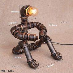Steampunk robot Escritorio Mesa Lámpara de luz de lectura Casa E27 pensador Tubo Iluminación