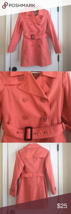 EUC Merona coat EUC Merona coat. 100% cotton with 100% polyester lining. One tiny spot on left sleeve as shown in photo. Smoke free pet free home. Coral in color. Merona Jackets & Coats