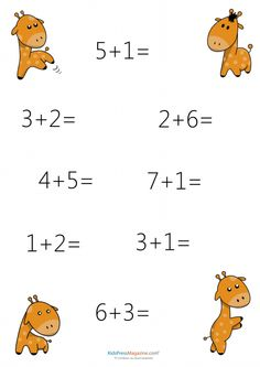 Fun math sheets for kids Kindergarten Worksheets, Worksheets For Kids, Learning Activities, Addition Facts, Math Addition, Giraffe Facts, English Grammar For Kids, Math Sheets, Working With Children