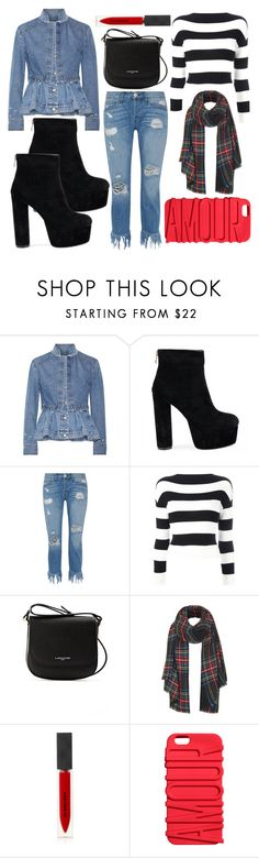 """""""Denim, Denim, Denim"""" by mexie ❤ liked on Polyvore featuring Alexander McQueen, 3x1, Boutique Moschino, Lancaster, Topshop and Burberry"""