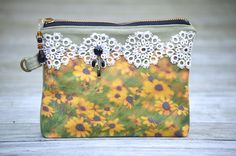 Flower Garden Daisy Clutch Bag Purse Cotton Printed by NINandBUMM