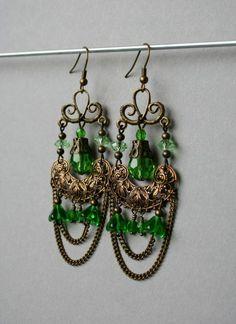 Cercei candelabru cu briolete verzi - Parfum bizantin cu nuanțe verzi