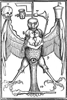 Alchemical woodcut. Symmetry of symbols arranged, numbers for extras.