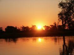 Coucher de soleil à Yellow Water sur South alligator river.