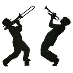 This Fascinating Rhythm Theme can be used for a ballroom theme, Gatsby Prom, or Homecoming dance. Music Silhouette, Wedding Silhouette, Black N White Images, Black And White, Hollywood Theme Classroom, Gatsby Themed Party, White Bear Lake, Trumpet Players, Stencils