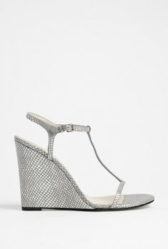 silver snake strappy wedge sandal lyst