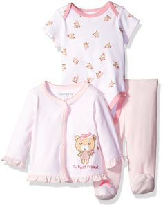 Nannette Baby Girls 3 Piece Cardigan Set With Creeper Pant Bear 69 Months ** To view further for this item, visit the image link.-It is an affiliate link to Amazon. #BabyClothing