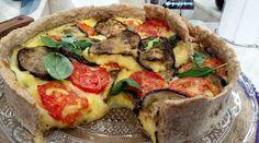 Tarta integral de berenjenas, tomates y mozzarella