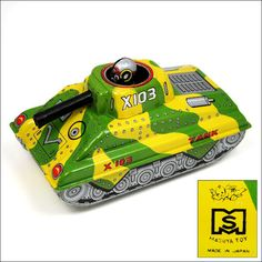 Masuya Friction Drive 'Army Tank With Pop-Up Soldier' Pic. 2. Vintage Tin Toy. Made In Japan.