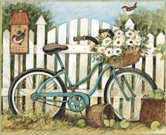 bicycle by picket fence with bird
