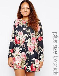 Club L Plus Size Swing Dress In Floral Paper Print