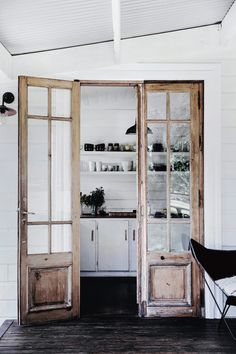 Vintage Interior Design rustic french doors in Natalie Walton's book This is Home. / sfgirlbybyay - Natalie Walton is an Australian stylist, designer, creative director of the shop Imprint House, and author of This is Home: The Art of Simple Living. Wood Interiors, House Design, House, Home, Rustic French, Doors Interior, French Doors Interior, Minimalist Home, Rustic House