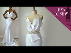 How To Sew A Satin Open Back Mermaid Style Wedding Gown - video Making A Wedding Dress, Diy Wedding Dress, Open Back Wedding Dress, Diy Dress, Dress Making, Wedding Gowns, Motif Corset, Corset Pattern, Diy Fashion
