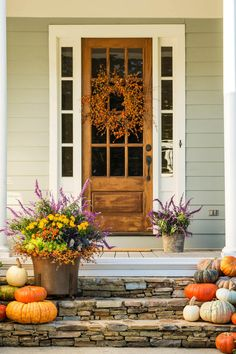 Botanical Beauties - Front Porches That Have Us So Ready for Fall - Southernliving. Fall-blooming plants take center stage on this pretty porch, a space that's adorned with whimsical textures, vibrant colors, and gorgeous botanical pairings.