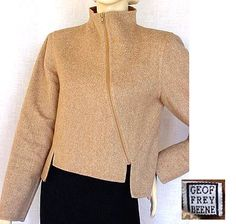 1990s tan tweed jacket with asymmetrical zipper - Courtesy of pf1