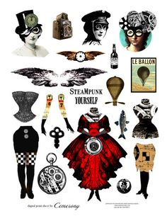 Paper Doll Steampunk Digital Collage Sheet no242
